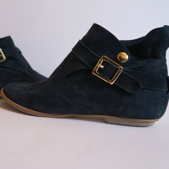 Blue Suede House of Harlow 1960 Booties Sz 8.5
